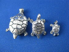 VINTAGE STERLING SILVER TURTLE BROOCH PIN 3 PC LOT