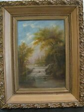 ANTIQUE OIL PAINTING ON CANVAS 19THC WATERFALL LANDSCAPE IN ANTIQUE GILT FRAME