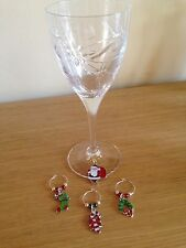 Christmas Wine Glass Charms With Organza Gift Bag