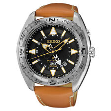 New Seiko SUN055 Prospex Kinetic GMT Stainless Brown Leather Strap Men's Watch