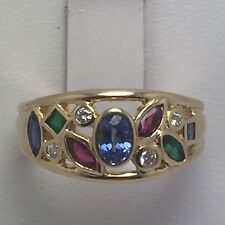 14K YELLOW GOLD RUBY EMERALD TANZANITE AND DIAMOND RING SIZE 6.75