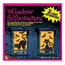 Halloween Large Cats & Bats Silhouette Glowing Window Decorations x 2