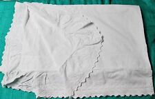 Antique Top Sheet Eyelet Embroidery Ruffled Trim Queen Size Elegant