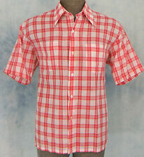 ReTrO 60s 70s VtG MOD RED PLAiD ROCKABiLLY HiPSTER DiScO SURFER BOARD SHiRT L