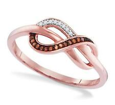 Adorable! 100% 10K Rose Gold Red & White Diamond Infinity Ring .05ct