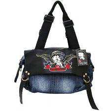 Betty Boop Hand Bag Heart Beaker Blue Jean Denim Leather Shoulder Satchel Bag