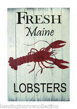 WALL ART - FRESH MAINE LOBSTERS DECORATIVE WOODEN SIGN - NAUTICAL DECOR
