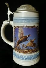 Genuine GERZ Germany Pewter-Lidded Beer Stein, Pheasants