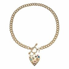 JUICY COUTURE GOLD HEART TOGGLE NECKLACE MULTICOLORED CRYSTALS NWT