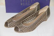 Stuart Weitzman Passive Gold Leather Wedge Open Toe Women's Shoes Size 9