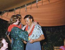 KODACHROME Red Border 35mm Slide Hawaii Luau Men Women Smiling Shirts Leis 1953!