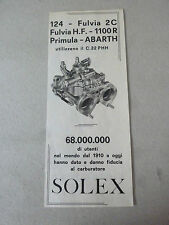 ADVERTISING PUBBLICITA' SOLEX PER 124- FULVIA -1100 R - PRIMULA- ABARTH -- 1966