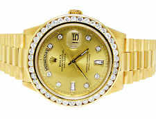 18K Mens 36MM Yellow Gold Rolex 18038 Presidential Day-Date Diamond Watch 3.5 Ct