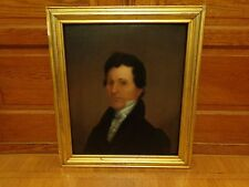 Antique Early 19th.c Formal Portrait Oil Painting on Board of William Thompson