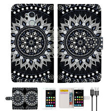 Black AZTEC TRIBAL Wallet TPU Case Cover For OPTUS 4G ZTE BLITZ / V7 Lite-- A005