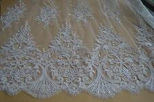 "53"" Beaded Bridal Lace Fabric Sequin Corded Embroidery Wedding Lace Fabric 1Yard"