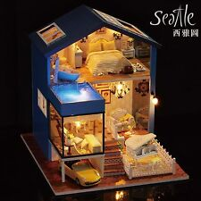 Dollhouse Miniature DIY Kit Dolls House with Furniture+Cover+Yellow Car Seattle
