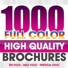 1000 Full Color BROCHURES Both Sides FREE DESIGN, FOLDING AND SHIPPING