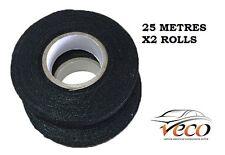 Auto Adhesivo Cinta de Tela Textil Paño Grueso y Suave Arnés Cableado Telar 19MM 25 metros Rollo X2