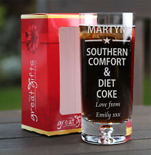 Personalised Southern Comfort & Diet Coke Glass Gift Birthday Xmas Star