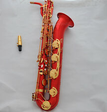 Professional Red lacq Baritone Saxophone Eb Sax Low A  high F# with new case