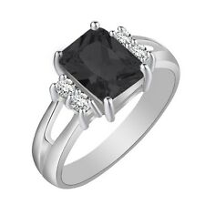 Charm Women Black Sapphire White Gold Filled Wedding Band Rings Jewelry