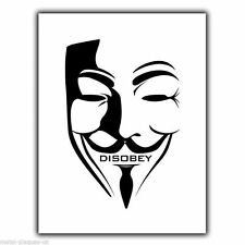 Anarchism Anarchy DISOBEY Guy Fawkes MASK METAL Wall Sign Plaque poster print