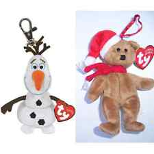 TY BEANIES OLAF THE SNOWMAN DISNEY FROZEN KEYCHAIN C/W SOUND AND XMAS TEDDY BNWT