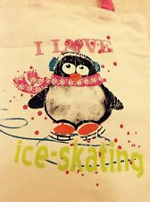 """Pink Penguin I LOVE ICE SKATING Cream Cotton Canvas shopping carry Bag 11"""" x 13"""""""