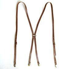 "Mens Leather Suspenders X-Back Retro Braces Brass Clip-On Dark Brown 46""~50"""