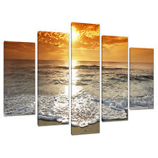 Set Five Orange Sunset Beach Canvas Art Prints Pictures Bedroom 5152