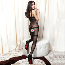 Black Sexy Women Tights Female Full body Pantyhose Crotch Open Lingerie