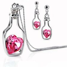 GirlZ! Silver Plated Bottle With Pink Heart Gem Pendant Necklace And Earring Set