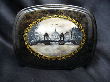 Vintage Painted Russian Lacquer Palekh box with Mother of Pearl Background