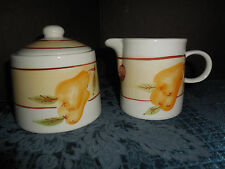 VTG CKRO SUGAR BOWL AND CREAMER WHITE WITH FRUIT DESIGN EUC HAND WASH