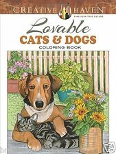 Lovable Cats Dogs Adult Colouring Book Animals Pets 1 Sided Christmas Gift Puppy