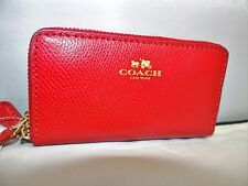 COACH Crossgrain Leather Small Double Zip Coin/Card Case Wallet True Red $98