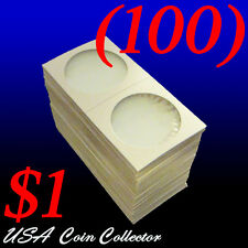 (100) Large Dollar Size 2x2 Mylar Cardboard Coin Flips for Storage | $1 Holder