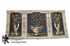 "77"" Needlepoint Wall Hanging Window Cover Tapestry Orange Tree Urns Fruit Floral"