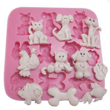 Cute Animal Fondant Mold Sugarcraft Cat Dog Chocolate Cookie Cake Silicone Mold