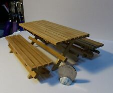 Dollhouse Miniature Picnic Table & Bench Set  1:12  one inch scale    D37