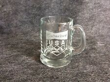 Budweiser USA Olympic Beer Mug Glass Bar Man Cave Coffee Etched Glass