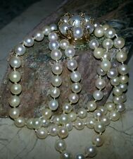 Pearls 10 &14mm 3 Strands Cultured Symmetrical Diamonds Gold Bracelet, 82 Pearls