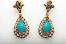 Antique 1940s Etruscan 7ct Natural Turquoise Pearl 14k Yellow Gold Drop Earrings