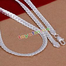 5mm Kette Flach 50cm 925 Sterling Silber plattiert Schlangenkette Halskette