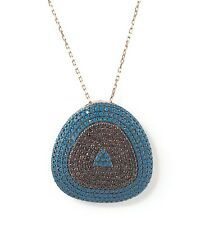 .925 Sterling Silver Womens Turquoise Triangle Evil Eye Necklace - US Seller