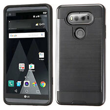 NEW * For LG V20 PHONE BLACK BRUSHED HYBRID SKIN COVER CASE  + SCREEN PROTECTOR