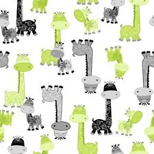 Fabric Giraffes Gray Green on White Flannel by the 1/4 yard BIN