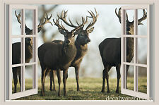 Deer Herd Window View Repositionable Color Wall Sticker Wall Mural 3 FT