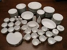 NORITAKE REINA China 6450Q 115-piece SET SERVICE for 12 Modern White & Platinum
